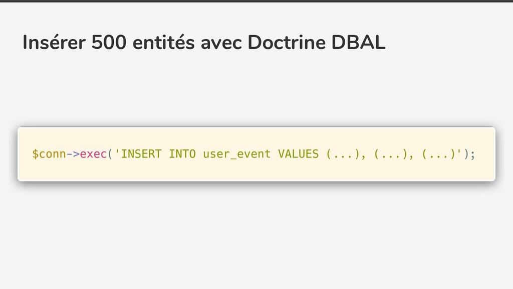 Insérer 500 entités avec Doctrine DBAL