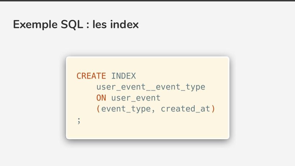 Exemple SQL : les index