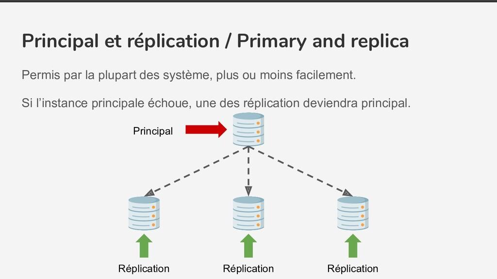 Principal et réplication / Primary and replica ...
