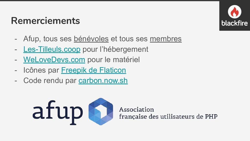 Remerciements - Afup, tous ses bénévoles et tou...