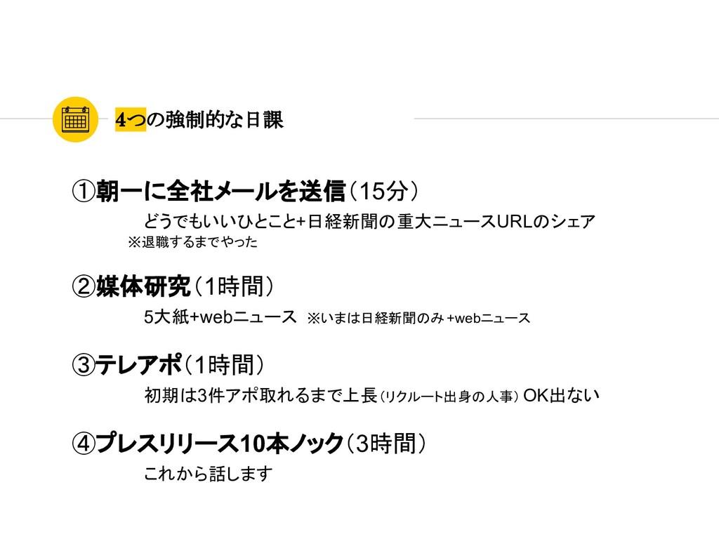 4つの強制的な日課  ①朝一に全社メールを送信(15分) どうでもいいひとこと+日経新聞の重大...
