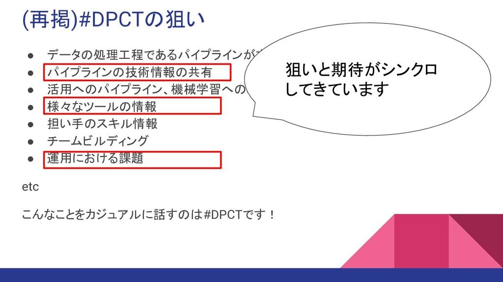 (再掲)#DPCTの狙い ● データの処理工程であるパイプラインがまだ軽視されている ● パイ...