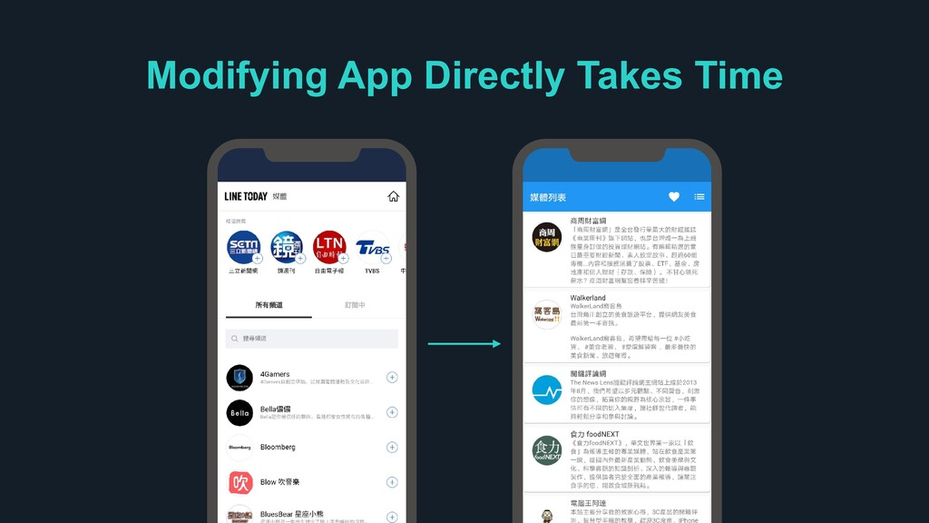 Modifying App Directly Takes Time