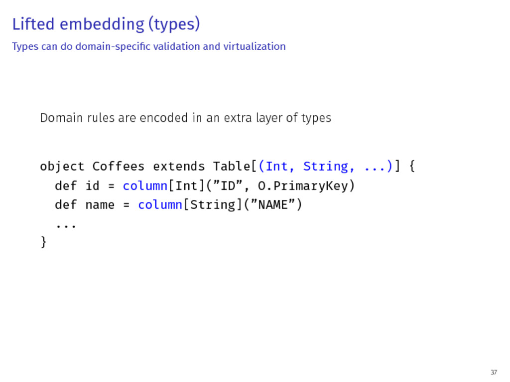 Lifted embedding (types) Types can do domain-sp...