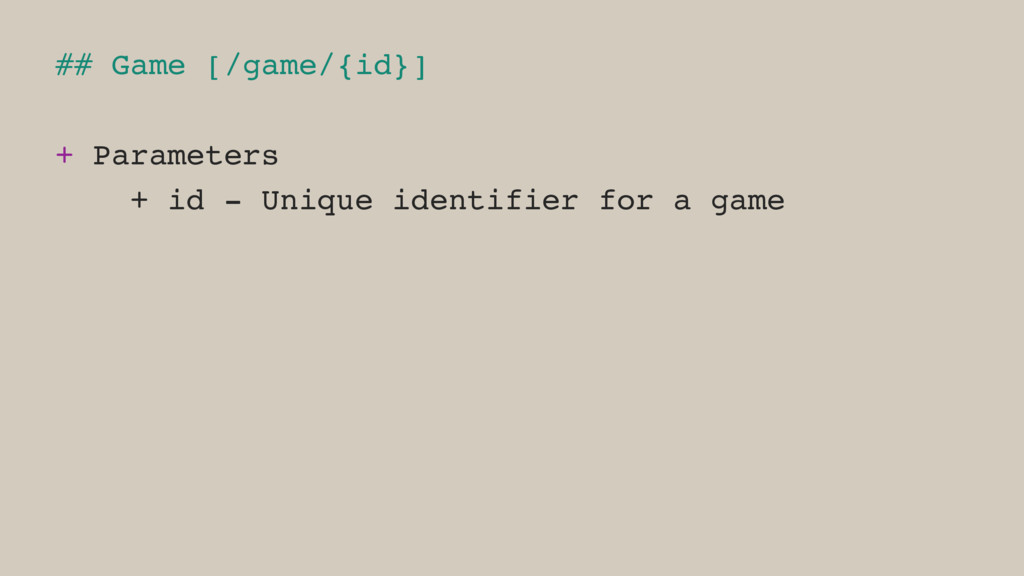 ## Game [/game/{id}] + Parameters + id - Unique...