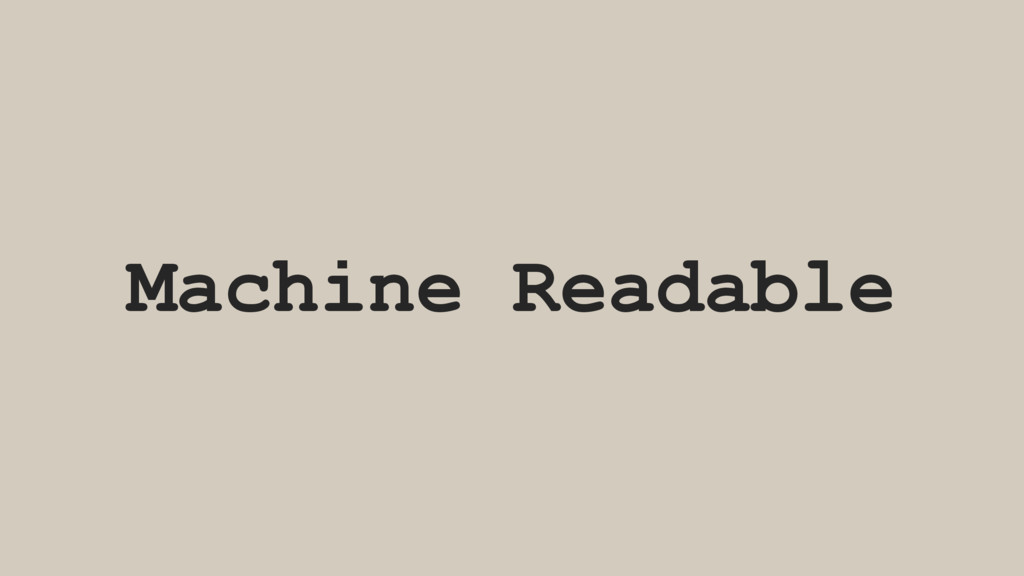 Machine Readable