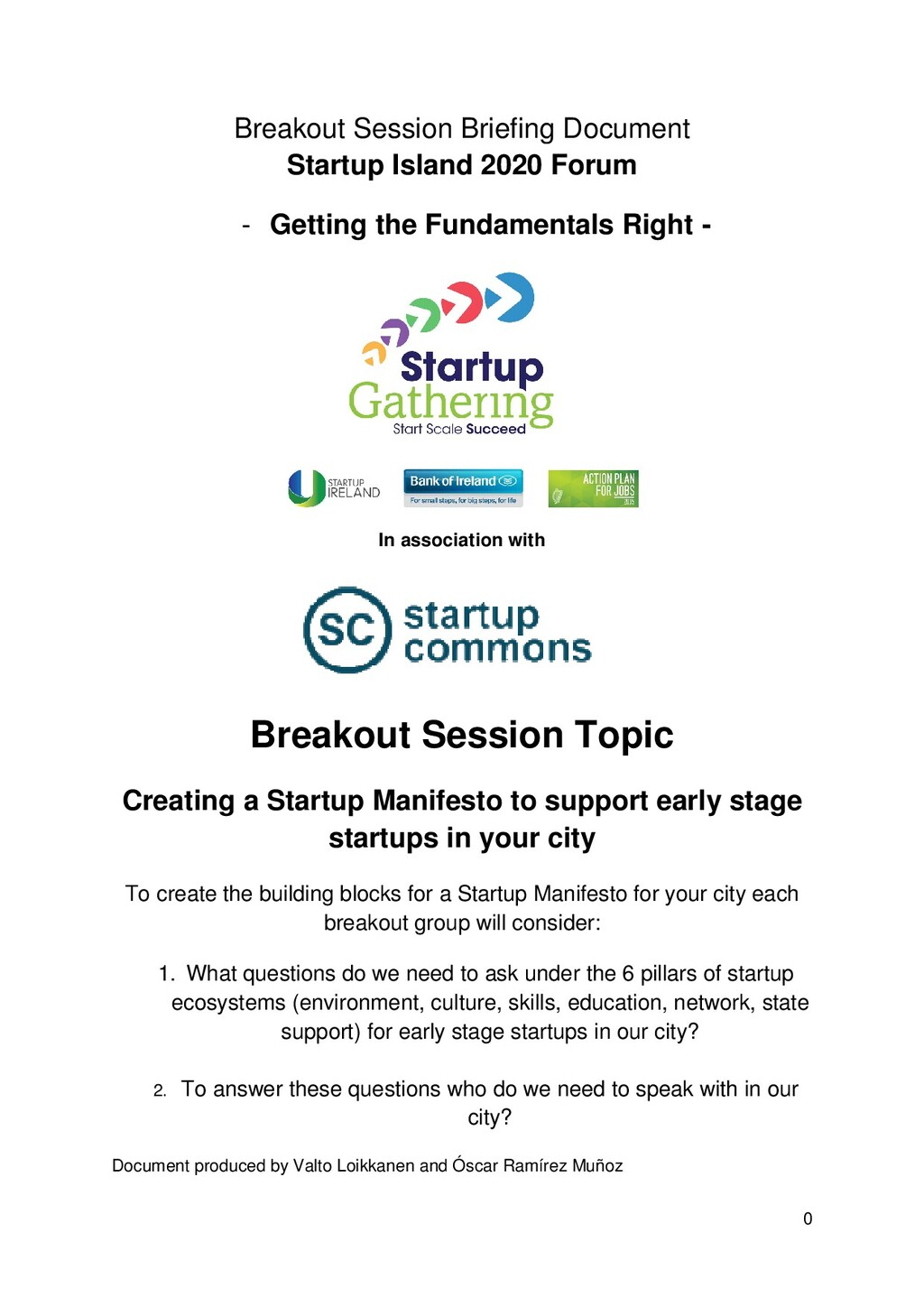 Breakout Session Briefing Document Startup Isla...