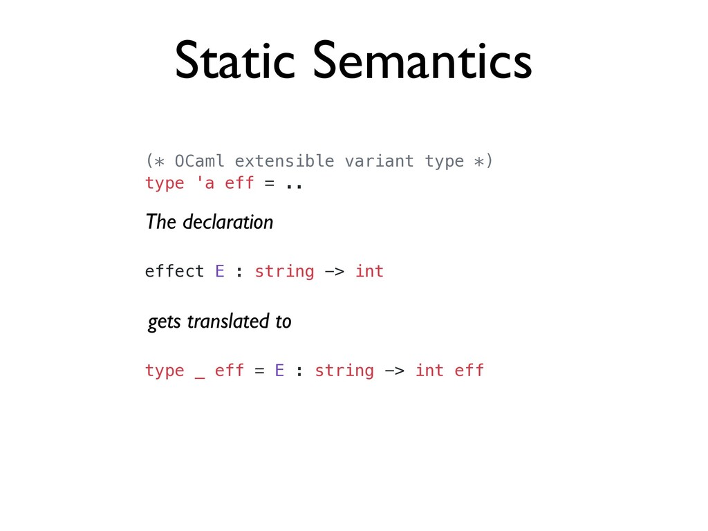 Static Semantics (* OCaml extensible variant ty...