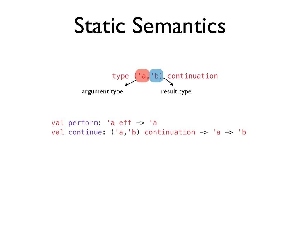 Static Semantics type ('a,'b) continuation argu...