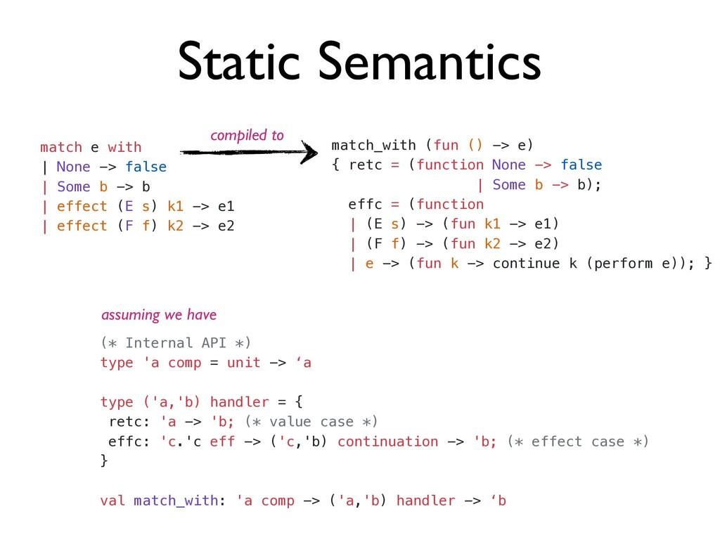 Static Semantics match e with   | None -> false...