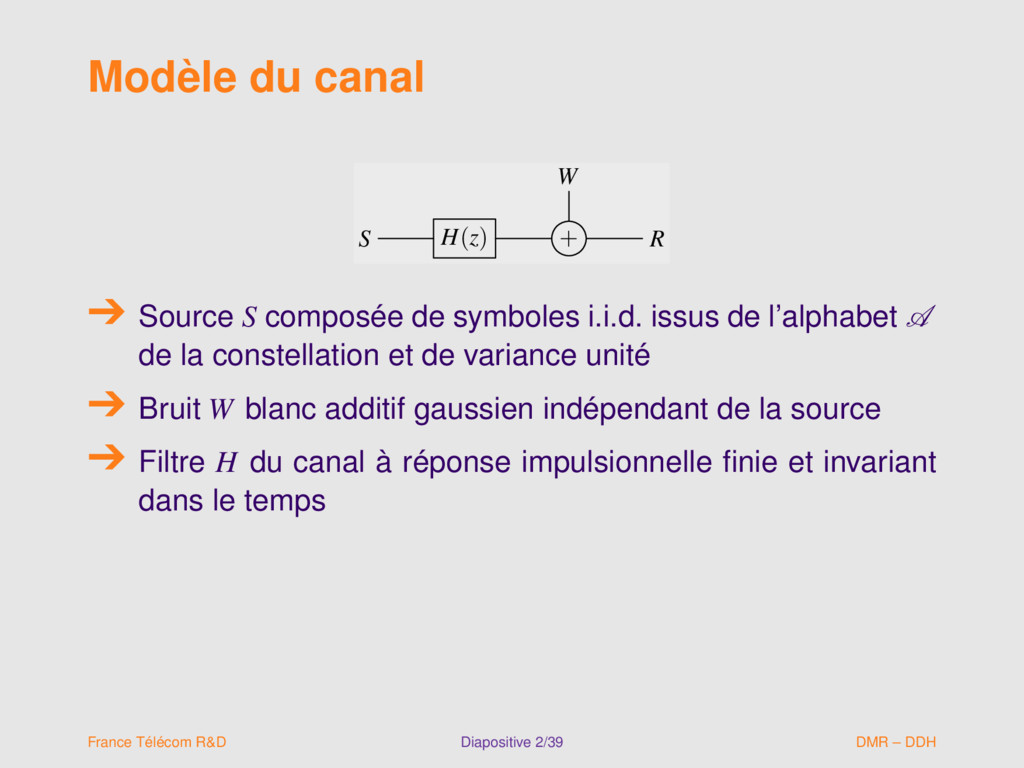 Modèle du canal W S H(z) + R W S H(z) + R Sourc...