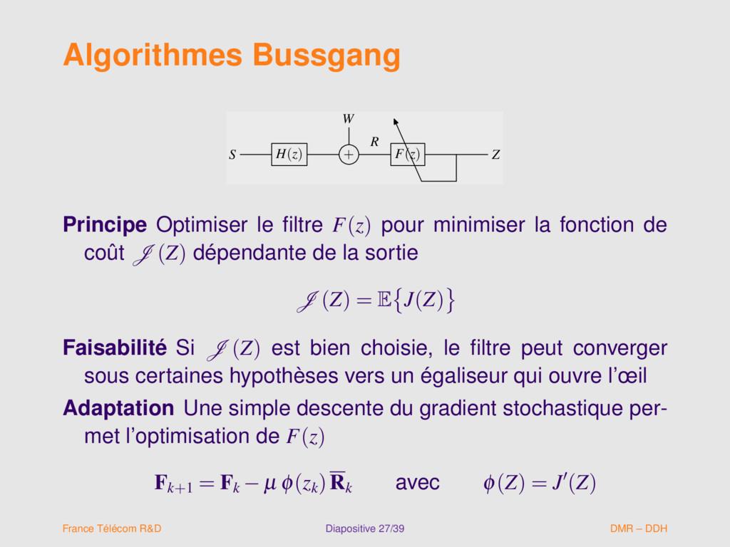 Algorithmes Bussgang W S H(z) + F(z) Z R W S H(...