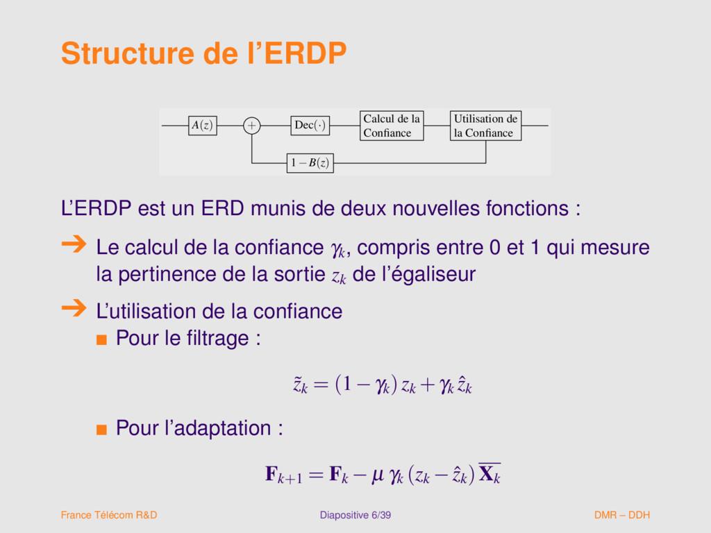 Structure de l'ERDP A(z) + Dec(·) Calcul de la ...