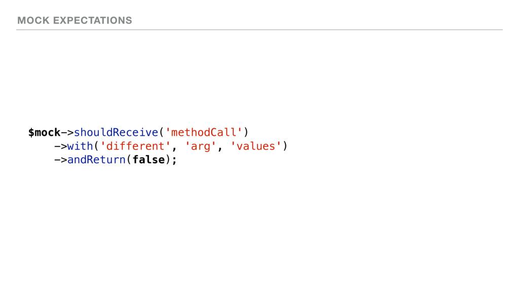 MOCK EXPECTATIONS $mock->shouldReceive('methodC...