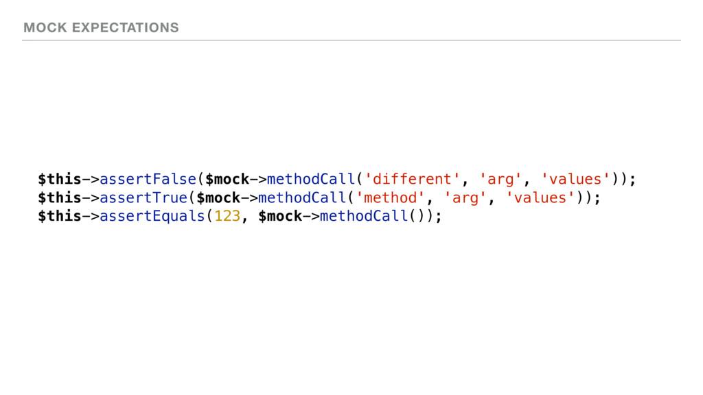 MOCK EXPECTATIONS $this->assertFalse($mock->met...