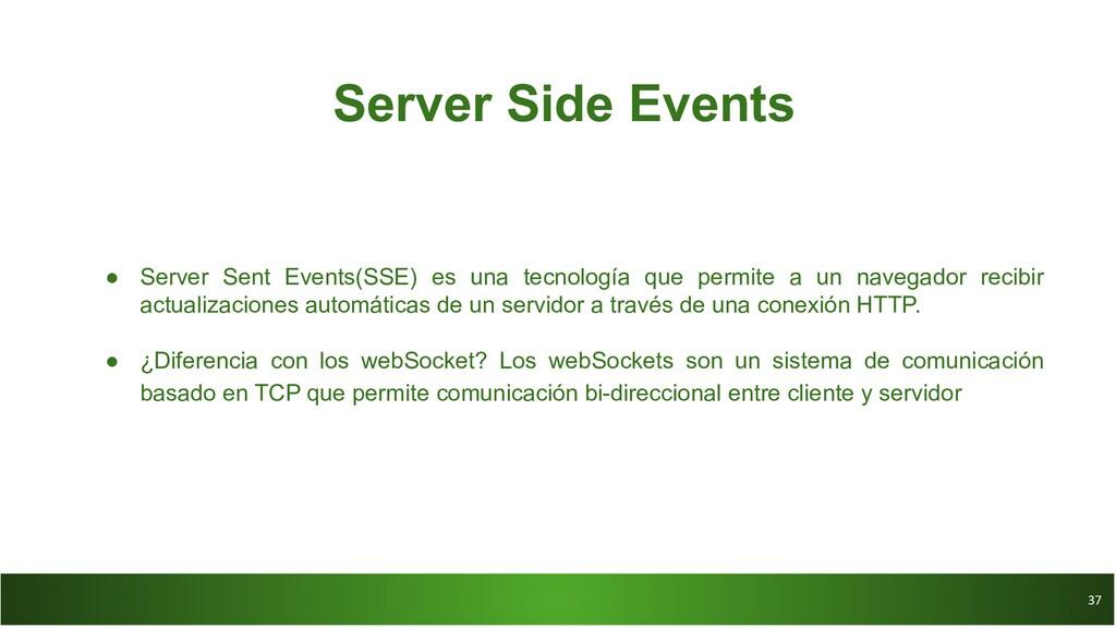 37 37 Server Side Events ● Server Sent Events(S...