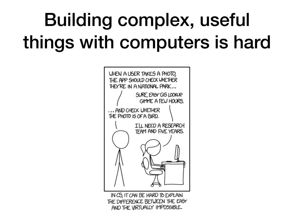 Building complex, useful things with computers ...