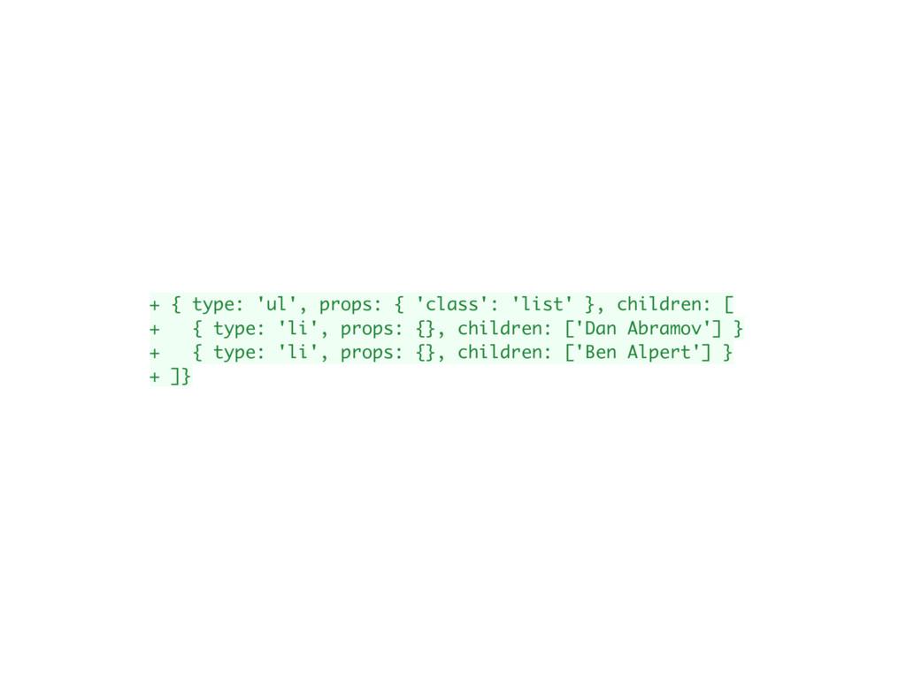 + { type: 'ul', props: { 'class': 'list' }, chi...
