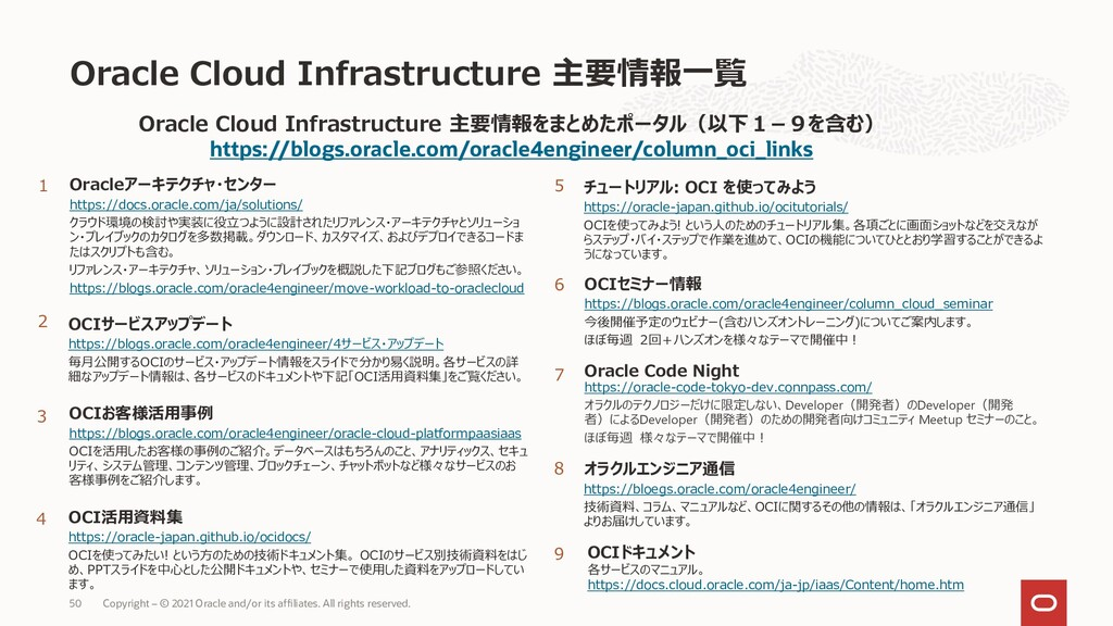Oracle Cloud Infrastructure 主要情報一覧 1 2 Oracleアー...