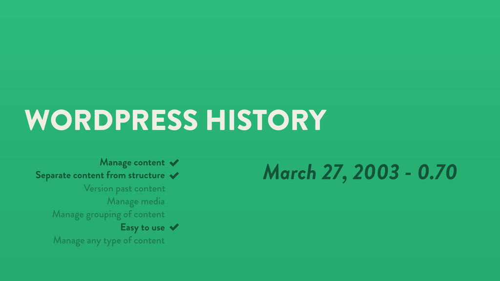 WORDPRESS HISTORY March 27, 2003 - 0.70 Manage ...