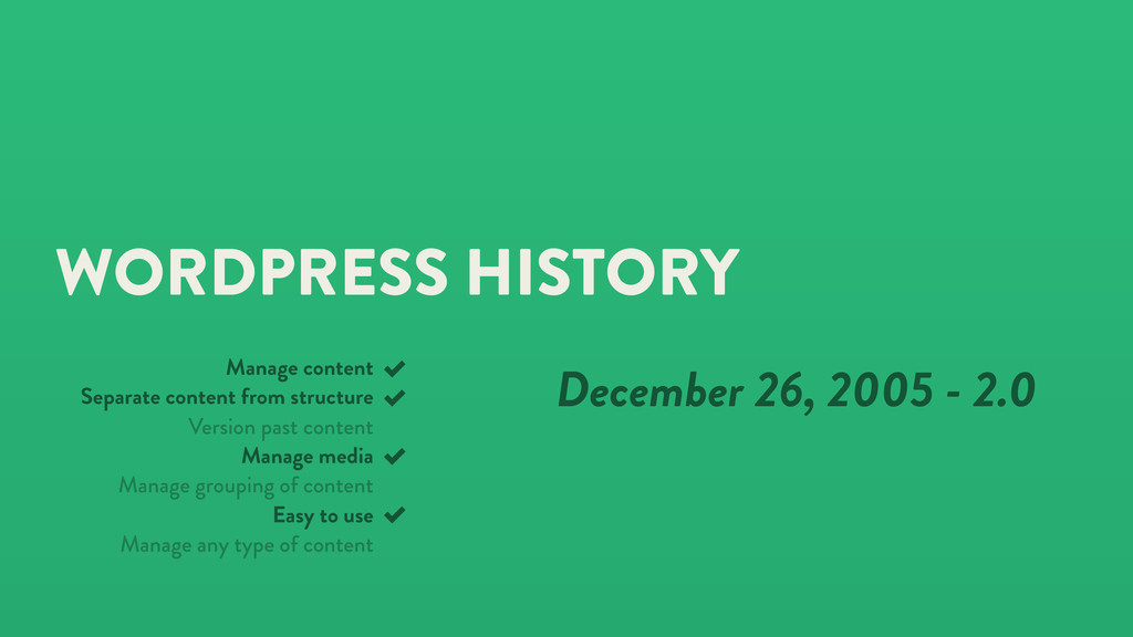 WORDPRESS HISTORY December 26, 2005 - 2.0 Manag...