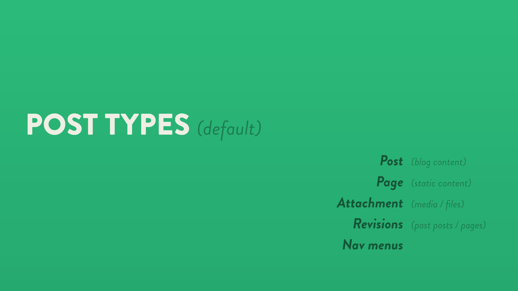 POST TYPES (default) Post Page Attachment Revis...