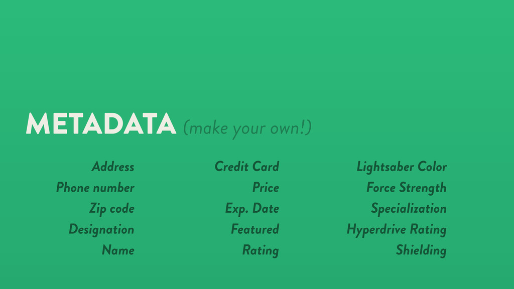 METADATA (make your own!) Credit Card Price Exp...