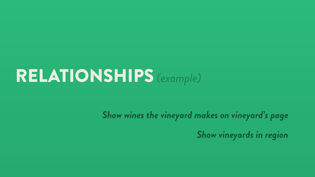 RELATIONSHIPS (example) Show wines the vineyard...