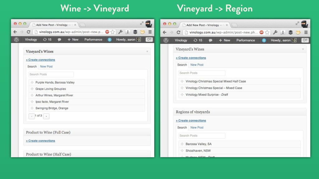 Wine -> Vineyard Vineyard -> Region