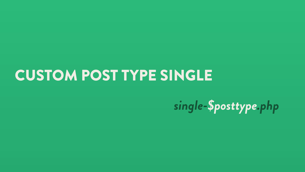 CUSTOM POST TYPE SINGLE single-$posttype.php