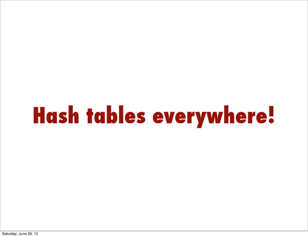 Hash tables everywhere! Saturday, June 29, 13
