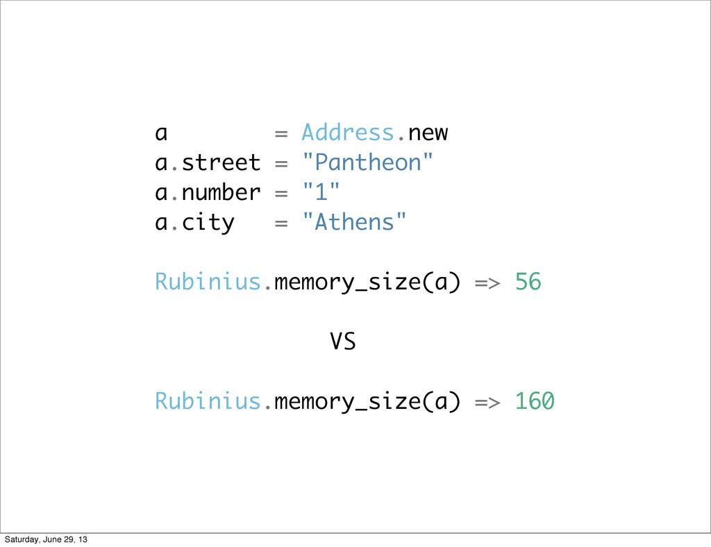 """a = Address.new a.street = """"Pantheon"""" a.number ..."""