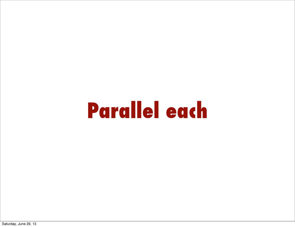 Parallel each Saturday, June 29, 13