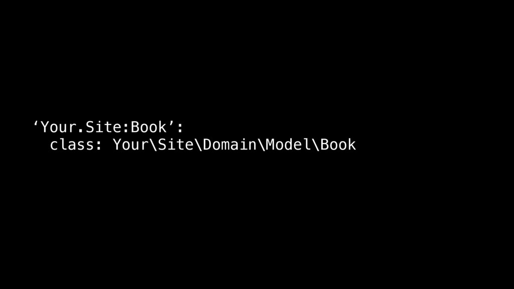 'Your.Site:Book': class: Your\Site\Domain\Model...