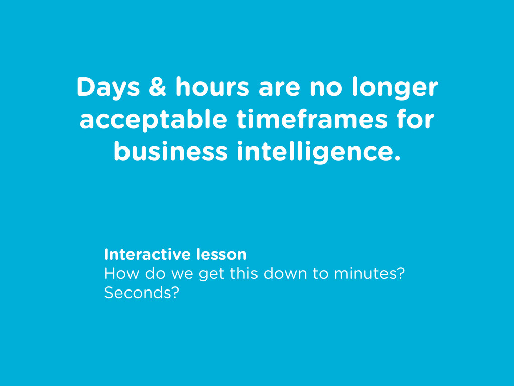 Days & hours are no longer acceptable timeframe...
