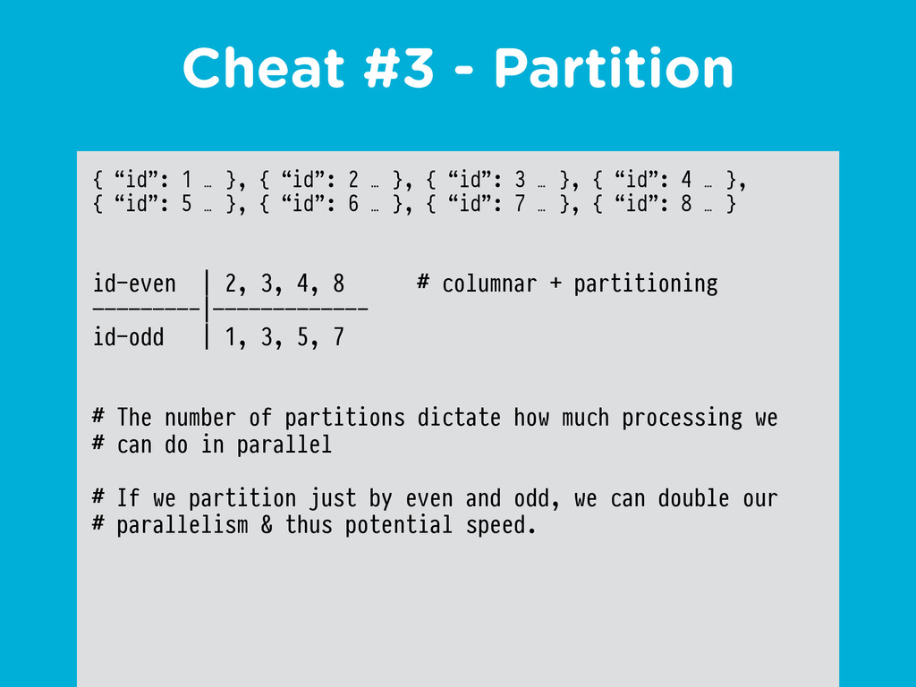 "Cheat #3 - Partition { ""id"": 1 … }, { ""id"": 2 …..."
