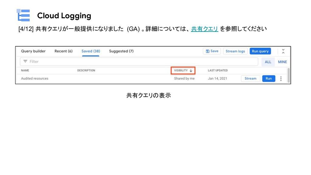 Cloud Logging [4/12] 共有クエリが一般提供になりました (GA) 。詳細に...