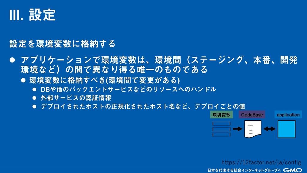 ⚫ ⚫ ⚫ ⚫ ⚫ https://12factor.net/ja/config