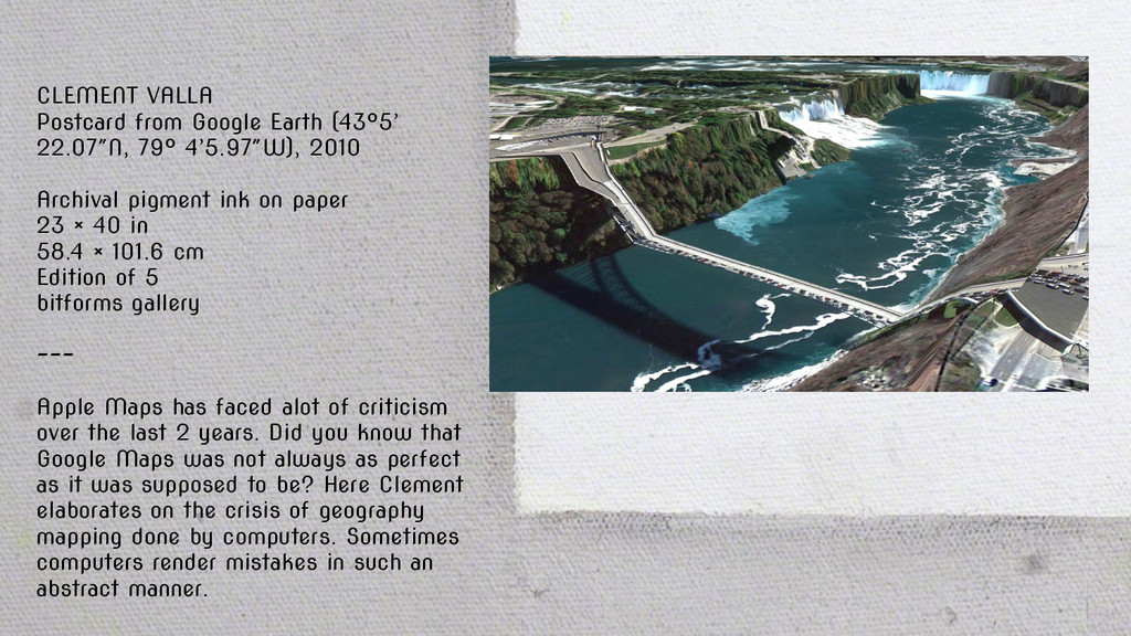 CLEMENT VALLA Postcard from Google Earth (43°5'...