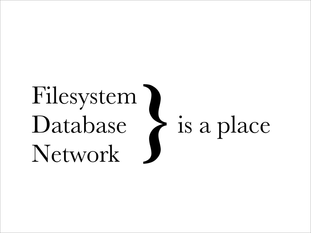 Filesystem Database Network }is a place