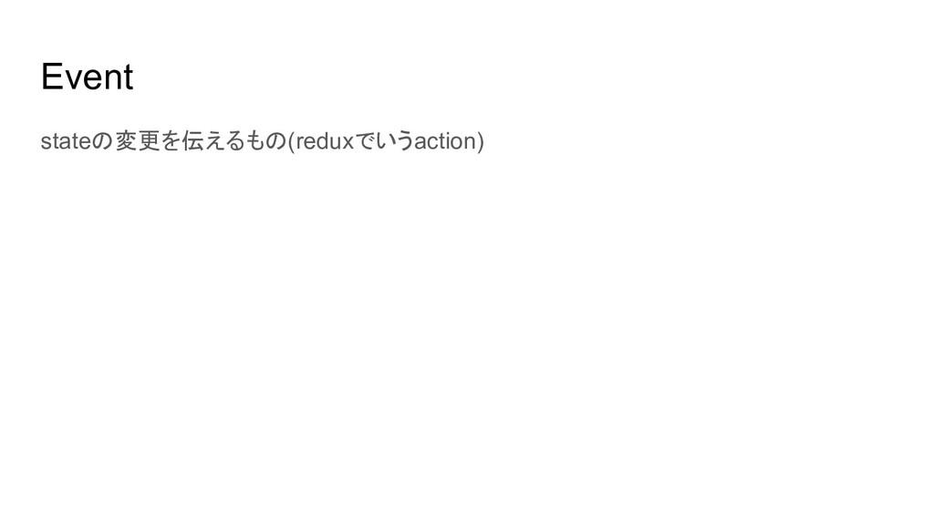 Event stateの変更を伝えるもの(reduxでいうaction)