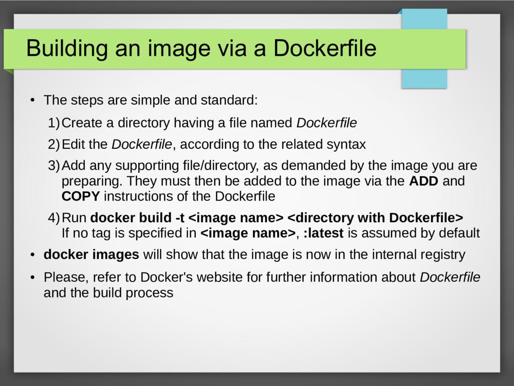 Building an image via a Dockerfile ● The steps ...