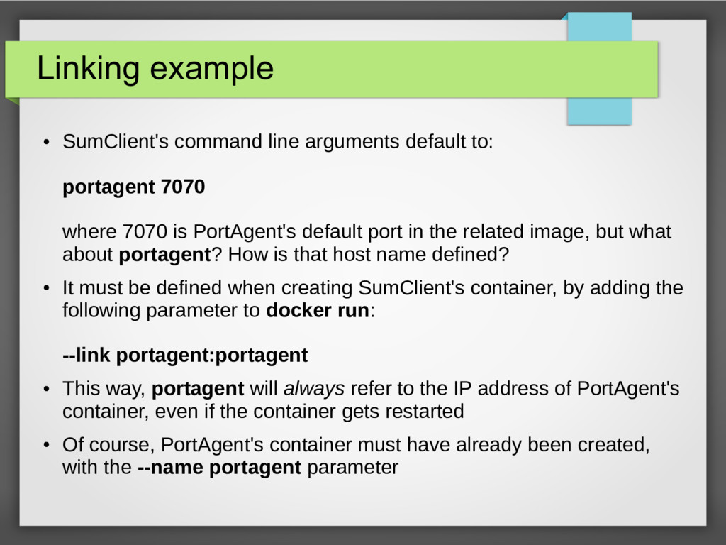 Linking example ● SumClient's command line argu...