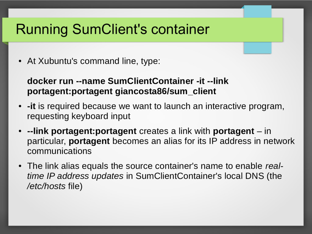 Running SumClient's container ● At Xubuntu's co...