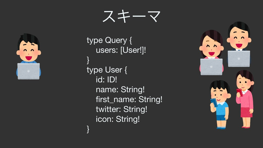 εΩʔϚ type Query {  users: [User!]!  }  type Use...