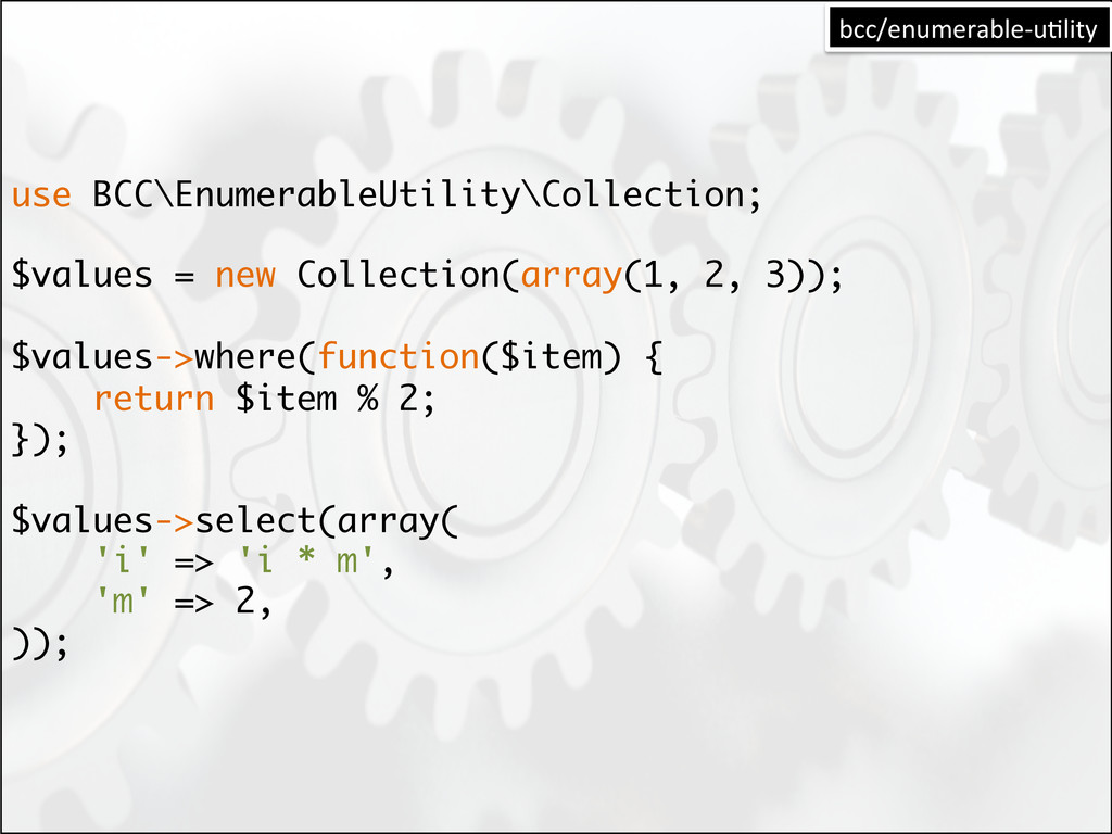 use BCC\EnumerableUtility\Collection; $values =...