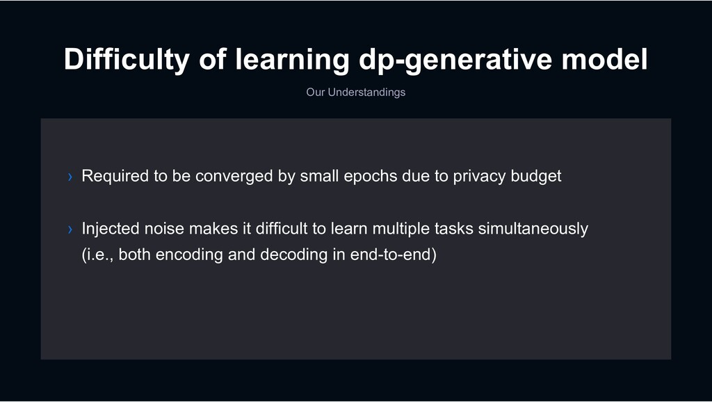 Difficulty of learning dp-generative model Our ...