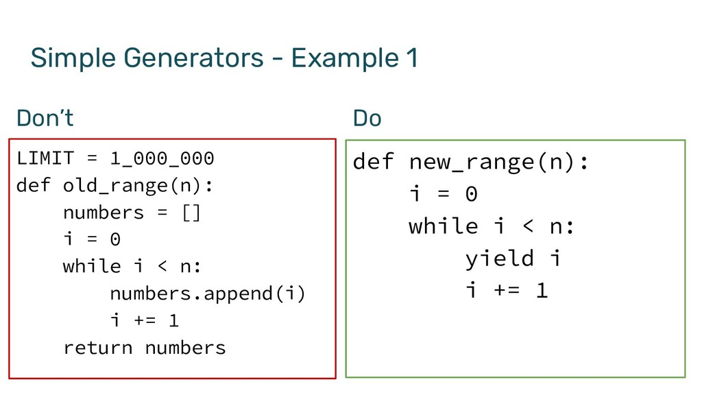 Simple Generators - Example 1 LIMIT = 1_000_000...