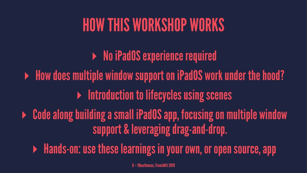 HOW THIS WORKSHOP WORKS ▸ No iPadOS experience ...