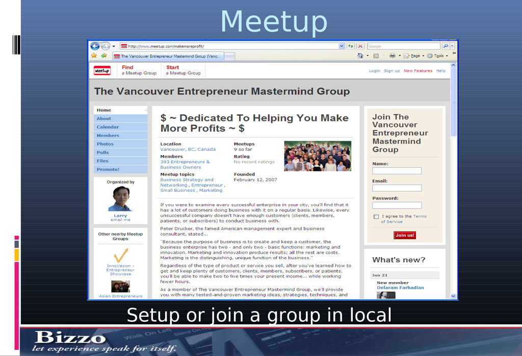 Meetup Setup or join a group in local area